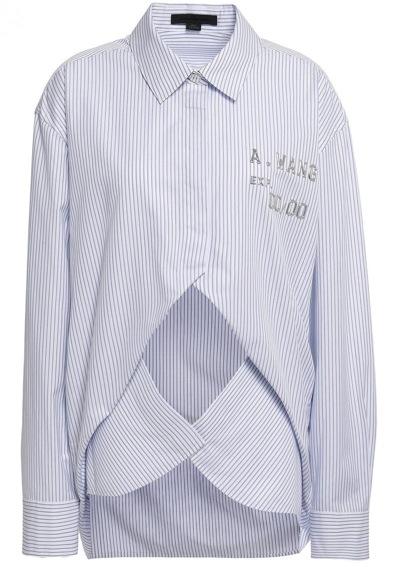 Alexander Wang Woman Embellished Cutout Cotton-blend Poplin Shirt White