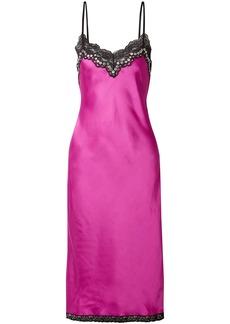 Alexander Wang Woman Embellished Lace-trimmed Satin Slip Dress Magenta