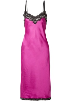 Alexander Wang Woman Embellished Lace-trimmed Satin Slip Dress Magenta