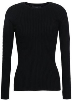 Alexander Wang Woman Embellished Ribbed Cotton-blend Top Black