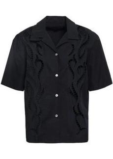 Alexander Wang Woman Embroidered Cutout Cotton-poplin Shirt Black