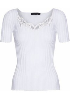 Alexander Wang Woman Embroidered Ribbed Cotton Top White