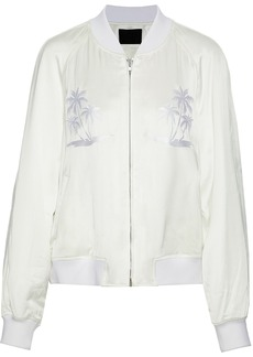 Alexander Wang Woman Embroidered Satin-twill Bomber Jacket White