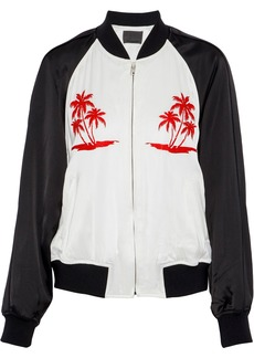 Alexander Wang Woman Embroidered Two-tone Satin Bomber Jacket White