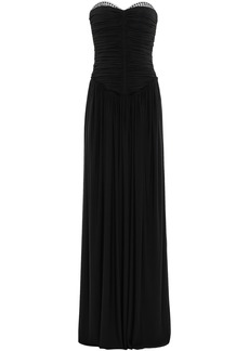 Alexander Wang Woman Eyelet-embellished Ruched Jersey Gown Black