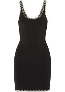 Alexander Wang Woman Eyelet-embellished Stretch-knit Mini Dress Black