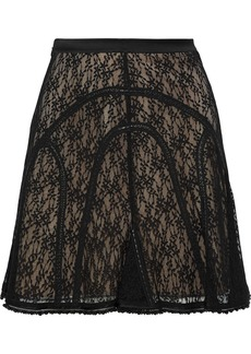 Alexander Wang Woman Faux Leather-trimmed Embellished Lace Mini Skirt Black