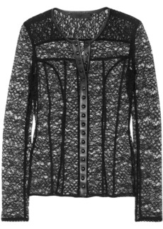 Alexander Wang Woman Faux Leather-trimmed Stretch-lace Blouse Black