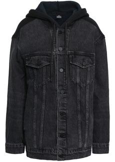 Alexander Wang Woman Fleece-paneled Denim Hooded Jacket Charcoal