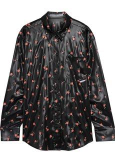 Alexander Wang Woman Floral-print Satin Shirt Black