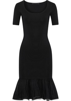 Alexander Wang Woman Fluted Embellished Stretch-knit Dress Black