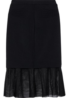 Alexander Wang Woman Fluted Layered Stretch-jersey And Mesh Skirt Black