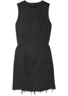 Alexander Wang Woman Frayed Denim Mini Dress Black