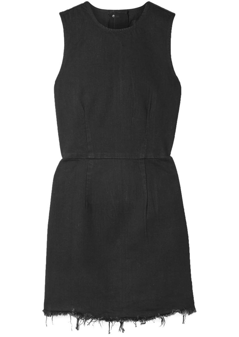 Alexander Wang Woman Frayed Denim Mini Dress Black