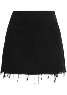 Alexander Wang Woman Frayed Denim Mini Skirt Black