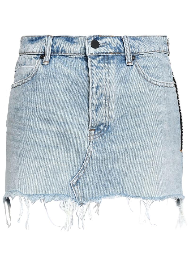 Alexander Wang Woman Frayed Denim Mini Skirt Light Denim