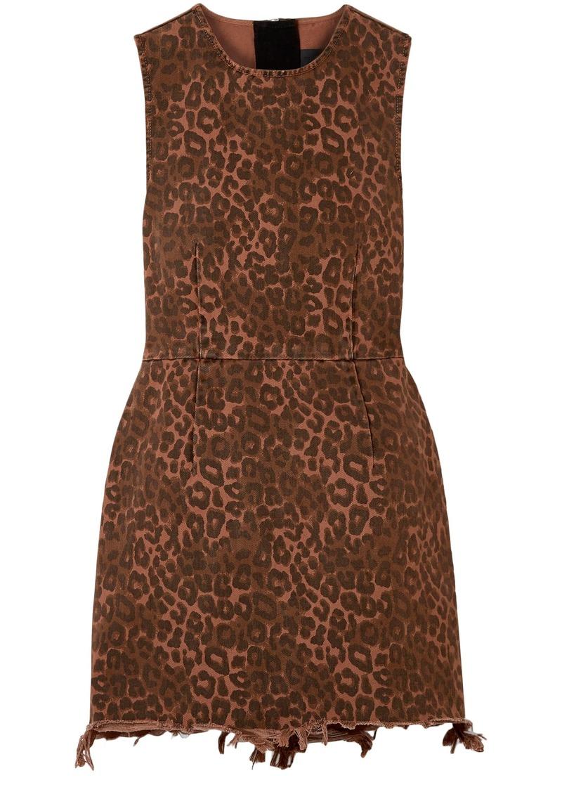 Alexander Wang Woman Frayed Leopard-print Cotton-twill Mini Dress Animal Print