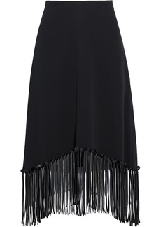 Alexander Wang Woman Fringe-trimmed Silk-crepe Skirt Black