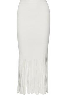 Alexander Wang Woman Fringed Stretch-knit Midi Skirt Ivory