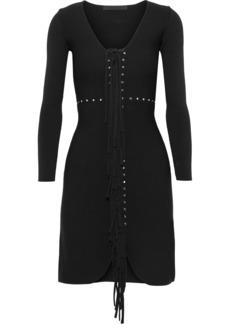 Alexander Wang Woman Fringed Studded Stretch-knit Mini Dress Black