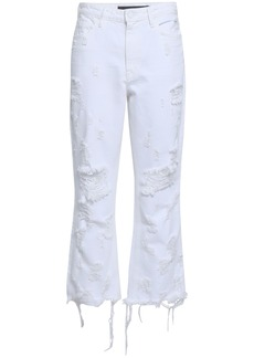 Alexander Wang Woman Grind Distressed Kick-flare Jeans White