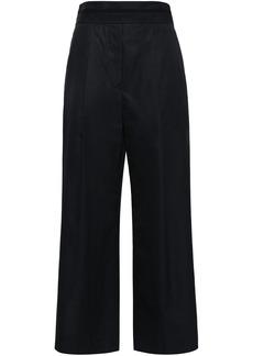 Alexander Wang Woman Grosgrain-trimmed Cotton-poplin Wide-leg Pants Black
