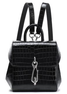 Alexander Wang Woman Hook Croc-effect Leather Backpack Black