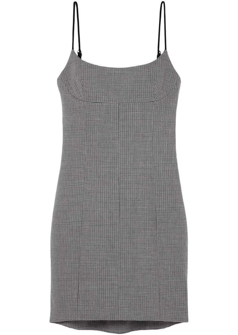 Alexander Wang Woman Houndstooth Tweed Mini Dress Gray
