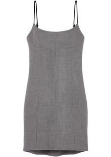 Alexander Wang Woman Houndstooth Tweed Mini Dress Gray