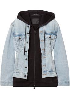 Alexander Wang Woman Joint Mix Layered Cotton-jersey And Denim Hooded Jacket Light Denim