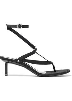 Alexander Wang Woman Kit Ring-embellished Satin Sandals Black