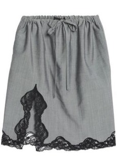 Alexander Wang Woman Lace-trimmed Wool And Mohair-blend Skirt Gray