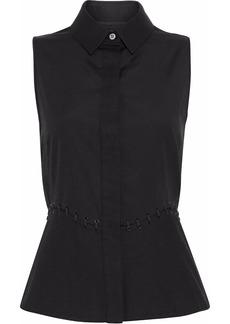 Alexander Wang Woman Lace-up Piqué-paneled Cotton-poplin Peplum Shirt Black