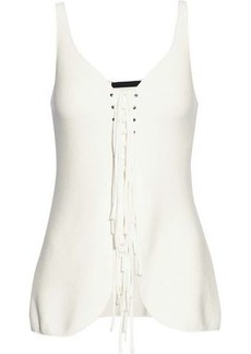 Alexander Wang Woman Lace-up Ponte Top Ivory