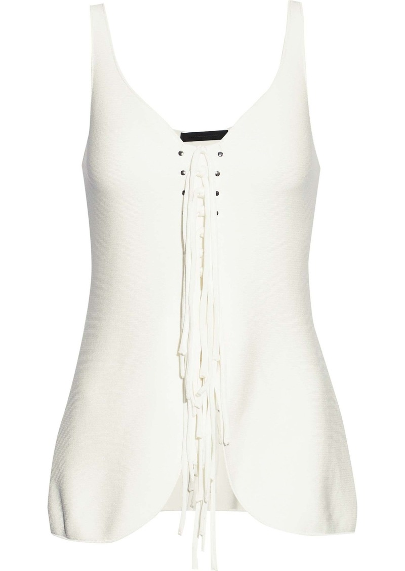 Alexander Wang Woman Lace-up Studded Ponte Top Ivory