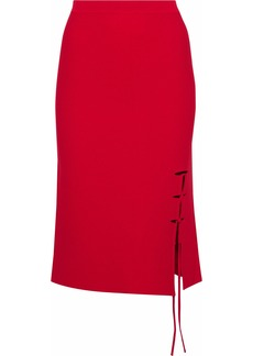 Alexander Wang Woman Lace-up Stretch-knit Skirt Crimson