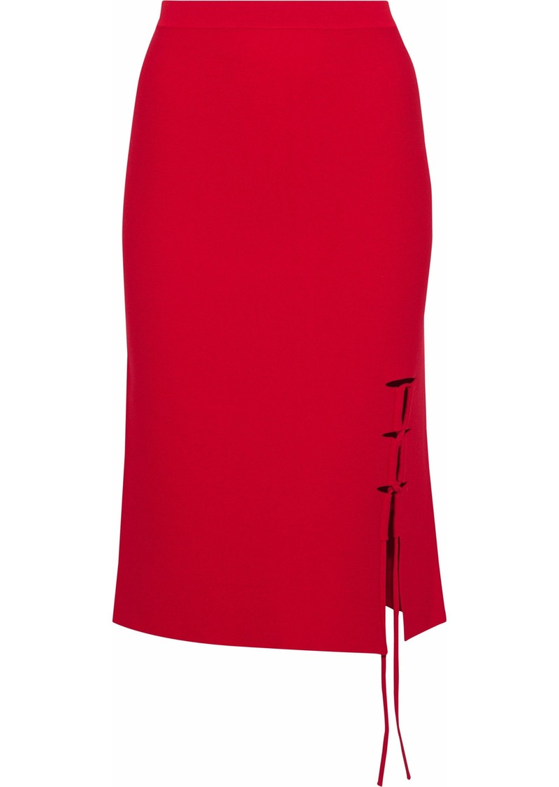 Alexander Wang Woman Lace-up Stretch-knit Skirt Crimson