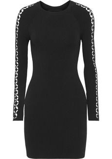Alexander Wang Woman Laser-cut Stretch-knit Mini Dress Black