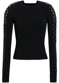 Alexander Wang Woman Laser-cut Stretch-knit Top Black