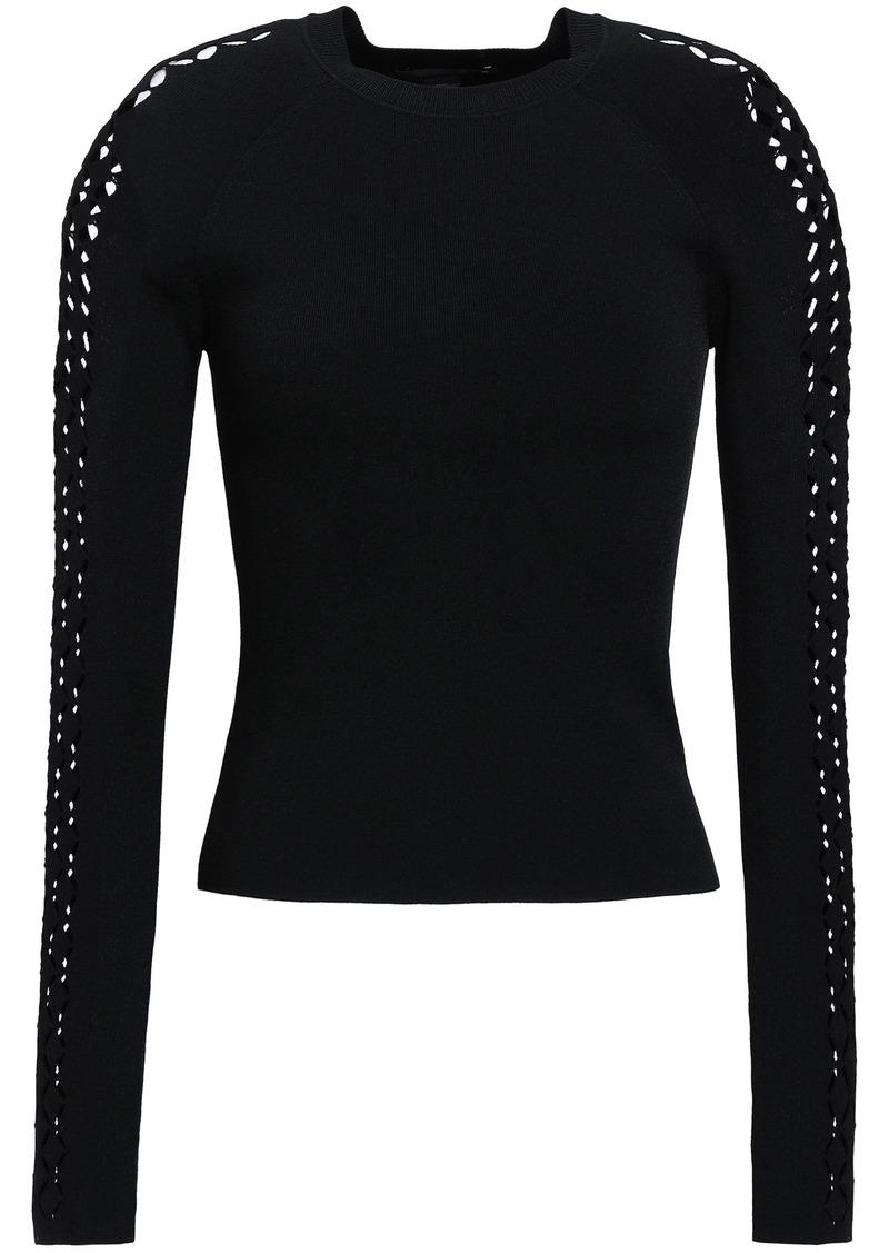 Alexander Wang Woman Laser-cut Stretch-knit Top Black