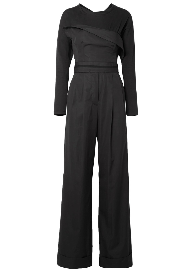 Alexander Wang Woman Layered Cotton-poplin And Jersey Jumpsuit Black