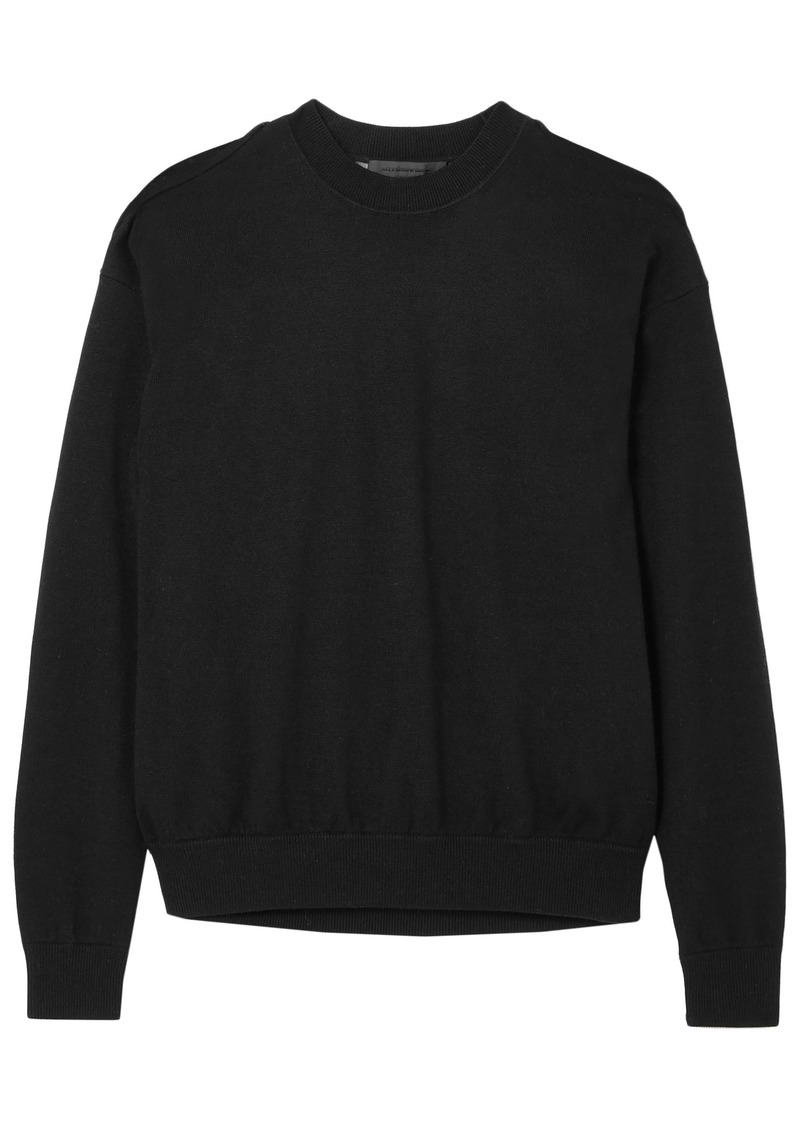 Alexander Wang Woman Layered Merino Wool And Slub Cotton-blend Sweater Black