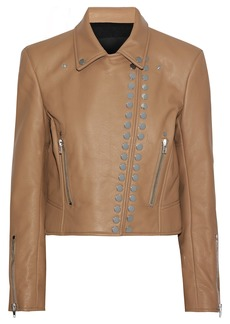 Alexander Wang Woman Studded Textured-leather Biker Jacket Sand
