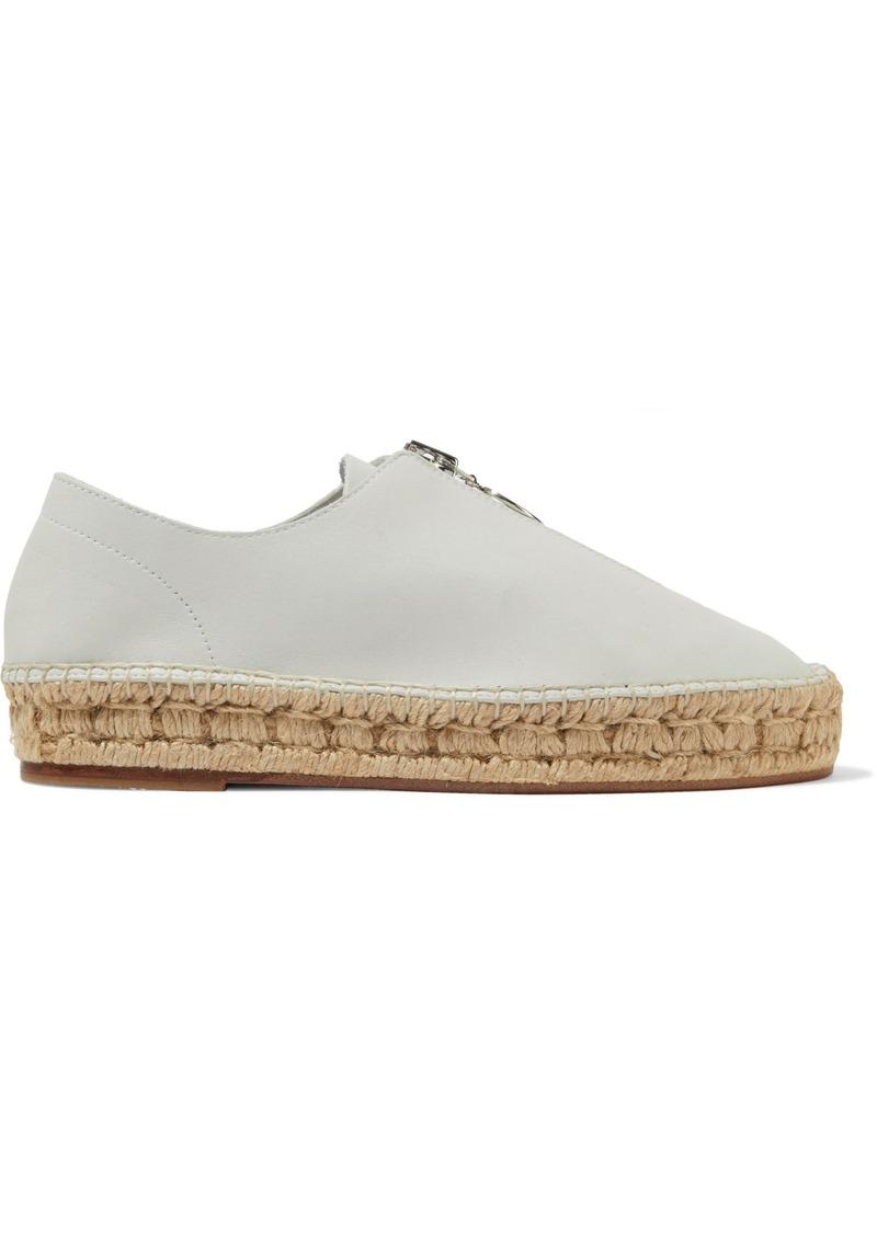 Alexander Wang Woman Leather Platform Espadrilles White
