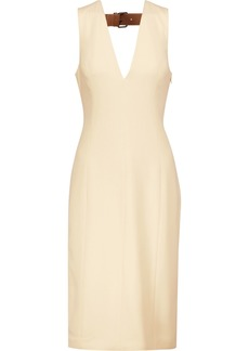 Alexander Wang Woman Leather-trimmed Cutout Crepe Dress Ecru