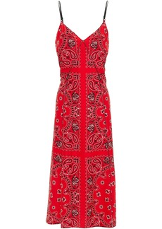 Alexander Wang Woman Leather-trimmed Paisley-print Silk Crepe De Chine Midi Slip Dress Red