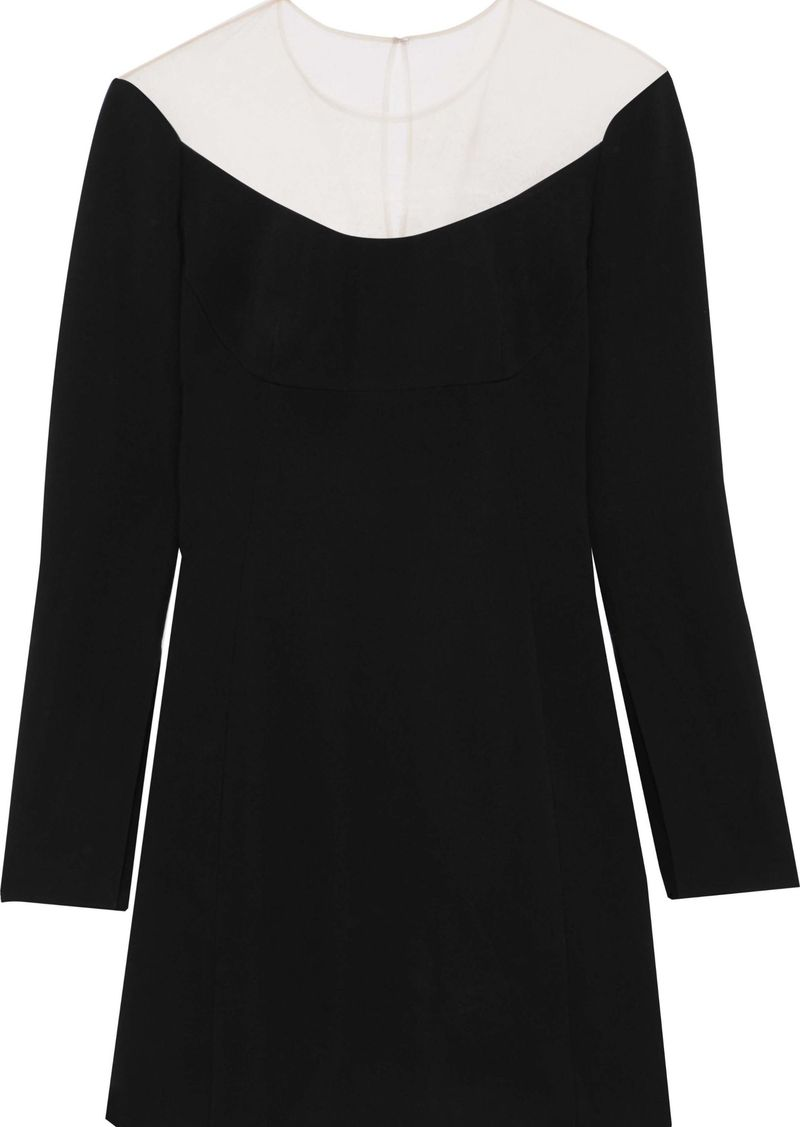 Alexander Wang Woman Mesh-paneled Cady Mini Dress Black