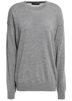 Alexander Wang Woman Mesh-paneled Snap-detailed Merino Wool Sweater Gray
