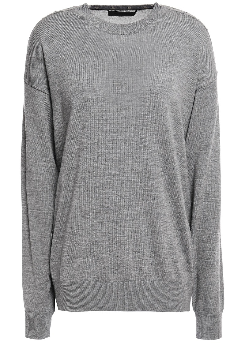 Alexander Wang Woman Mesh-paneled Snap-detailed Merino Wool Sweater Gray