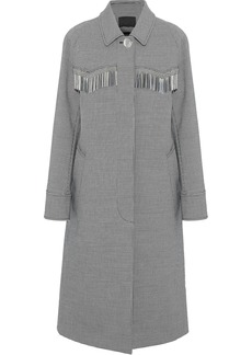 Alexander Wang Woman Metallic Fringe-trimmed Houndstooth Woven Coat Gray